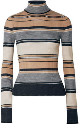 Acne Studios Ribbed Striped Merino Wool Turtleneck Sweater - Camel
