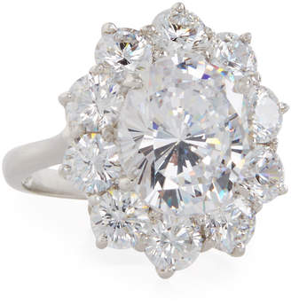 FANTASIA Oval Cubic Zirconia Ring w/ Surrounding Crystals
