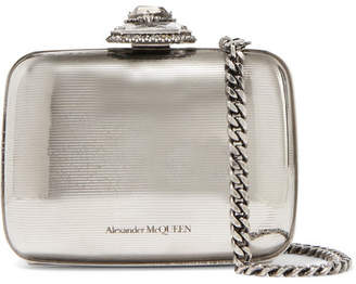 Alexander McQueen Crystal-embellished Silver-tone Shoulder Bag