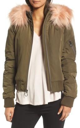 Women's Bcbgeneration Faux Fur Trim Puffy Bomber Jacket