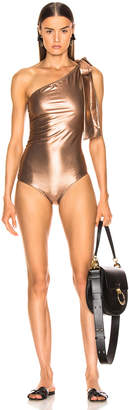 Lisa Marie Fernandez Arden Ruched Tie Maillot Swimsuit