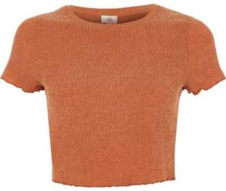 River Island Womens Orange lettuce frill cropped T-shirt