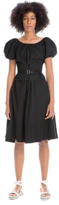 Max Studio belted stretch poplin dress