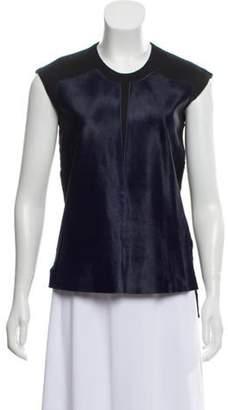 Helmut Lang Fur -Accented Sleeveless Top Blue Fur -Accented Sleeveless Top