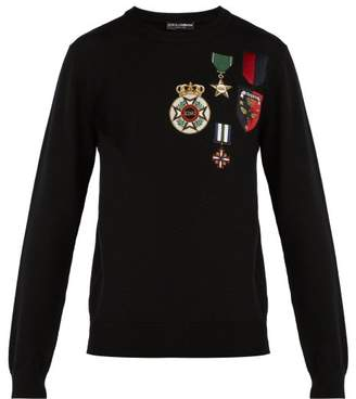 Dolce & Gabbana Medal Embroidered Wool Sweater - Mens - Black