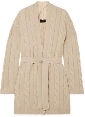 Nili Lotan Serene Belted Cable-knit Cashmere Cardigan - Beige