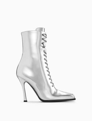 Calvin Klein high-heeled lace-up boot in metallic leather with 205W39NYC silver toe plate