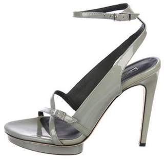 Calvin Klein Collection Patent Leather Ankle-Strap Sandals