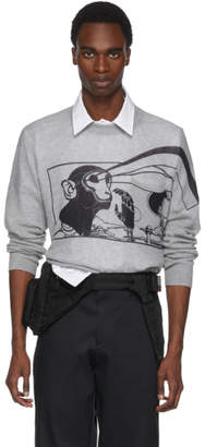 Prada Grey Printed Cashmere Sweater