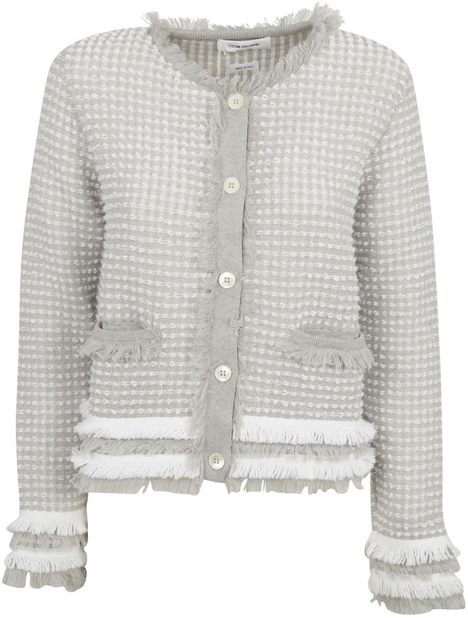 Frayed Edge Cardigan From Thom Browne: Light Grey Frayed Edge Cardigan With Ribbed Round Neck, Long Sleeves, Front Button Closure, Welt Pockets, Fraye