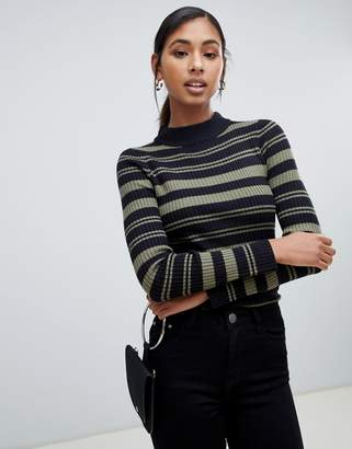 Brave Soul knitted sweater with funnel collar
