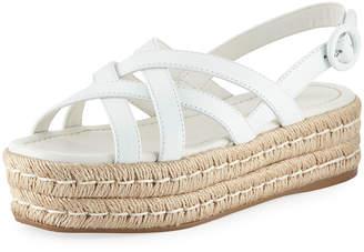 Prada Crisscross Leather Platform Espadrille Sandals