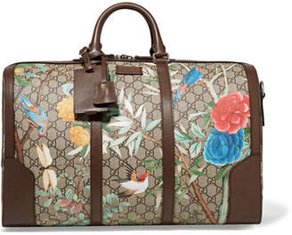 Gucci Leather-trimmed Printed Coated-canvas Weekend Bag - Beige