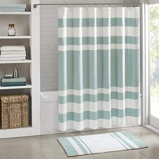 Madison Park Spa Waffle Shower Curtain With 3M Treatment - Water Repellent & Stain Resistant - Aqua - 72(W) X 72(L)- Machine Washable