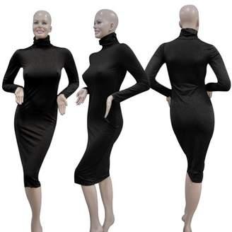 tryandtry Autumn Spring Sexy Women Clubwear High Collar Long Sleeve Slim Evening Party Black Dress Charming Dress
