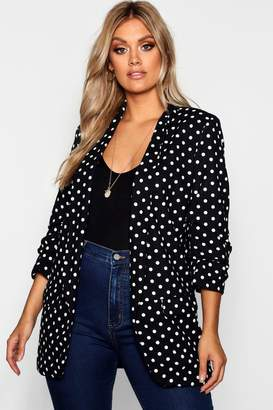 boohoo Plus Polka Dot Rouched Sleeve Fitted Blazer
