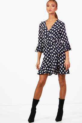 boohoo Woven Big Spot Wrap Dress