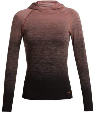 Pepper & Mayne - Hooded Ombre Compression Performance Top - Womens - Black Pink