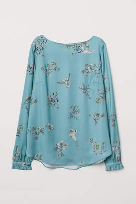 H&M Satin Boat-necked Blouse - Turquoise