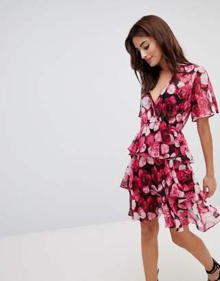 NA-KD Triple Layer Flounce Dress