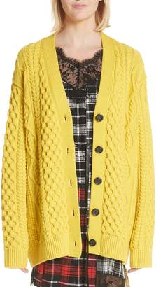 Marc Jacobs Oversize Cable Knit Merino Wool Cardigan