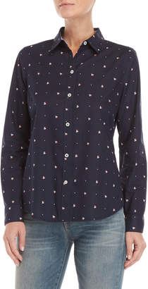 Nautica Sailboat Print Fitted Shirt
