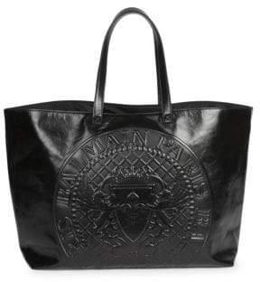 Balmain Medallion Leather Tote Bag