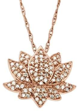 Lord & Taylor 14 Kt. Rose Gold Diamond Lotus Flower Pendant