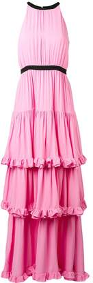 MSGM tiered ruffled halterneck gown