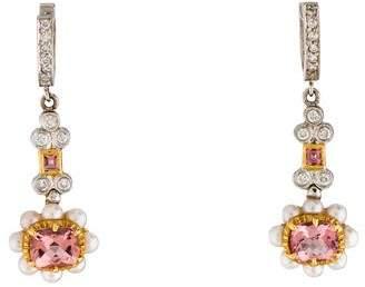 Jude Frances 18K Pink Tourmaline, Pearl & Diamond Drop Earrings