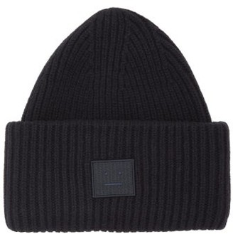 cb547193880 Acne Studios Pansy N Face Ribbed Knit Wool Beanie Hat - Mens - Black