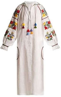 Vita kin Vita Kin - BouclA Embroidered Mid Weight Linen Dress - Womens - White Multi