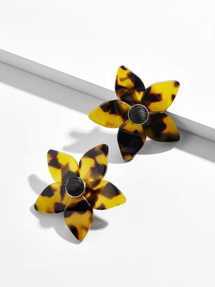 BaubleBar Mini Amariella Flower Stud Resin Earrings-Brown