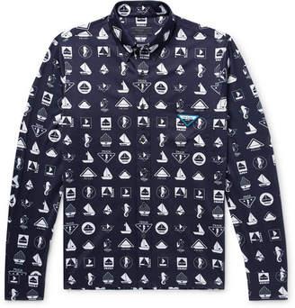 Prada Slim-Fit Button-Down Collar Printed Cotton-Jersey Shirt