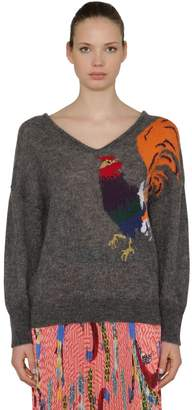 Stella Jean Rooster Intarsia Mohair Blend Sweater