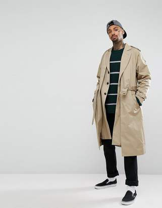 Asos Design Oversized Trench Coat In Stone