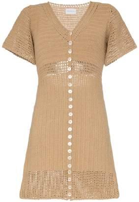 She Made Me Aahana short sleeved crochet mini dress