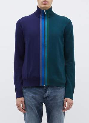 Paul Smith Stripe placket colourblock Merino wool zip turtleneck cardigan