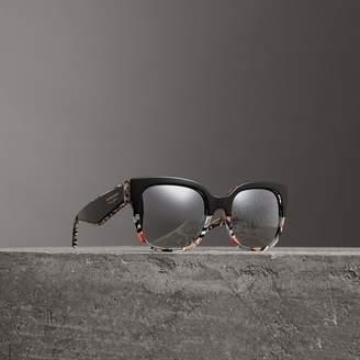 Burberry Patchwork Check Oversize Square Frame Sunglasses