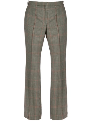 Prince of Wales-checked mid-rise trousers