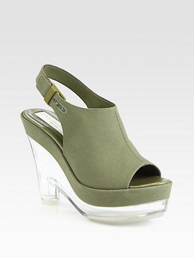 Stella McCartney Canvas Plexi Wedge Slingback Sandals