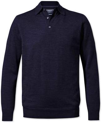 Charles Tyrwhitt Navy Merino Wool Zip Through Cardigan Size Large