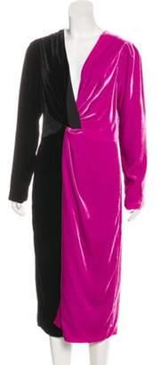 DELFI Collective Color-Block Velvet Dress Purple Color-Block Velvet Dress