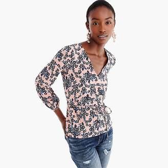 J.Crew Tall drapey crepe faux-wrap top in blush bouquet