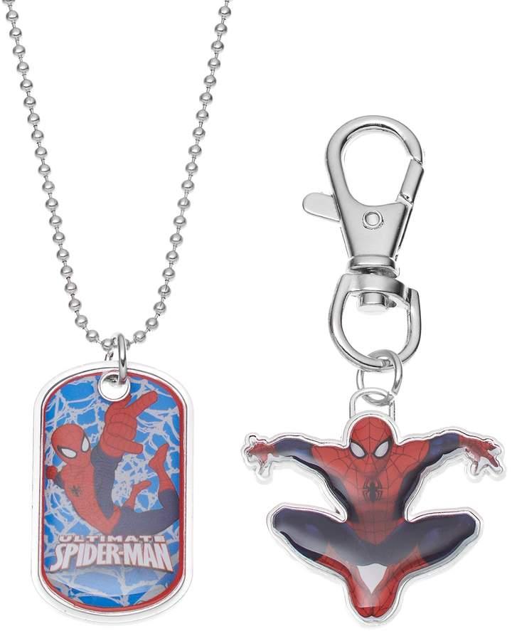 Marvel Ultimate Spider-Man Kids Dog Tag Necklace, Key Chain & Keepsake Tin Set