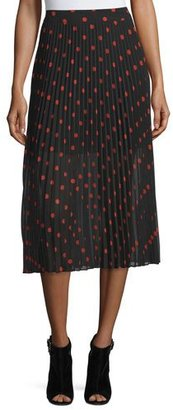 McQ Alexander McQueen Pleated Polka-Dot Midi Skirt, Red/Black $615 thestylecure.com