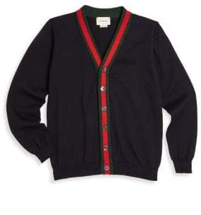 Gucci Little Boy's& Boy's Web-Trim Cotton Cardigan