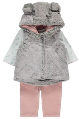 George Faux Fur Grey Gilet, Slogan Top and Bottoms Set