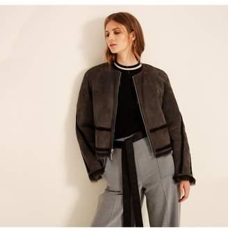 Amanda Wakeley Charcoal Short Shearling Jacket