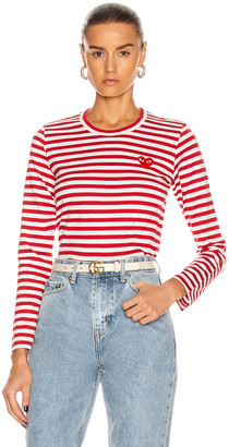 Comme des Garcons Striped Cotton Red Emblem Tee